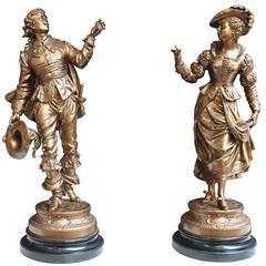 Pair of 19th Century French Spelter Figures