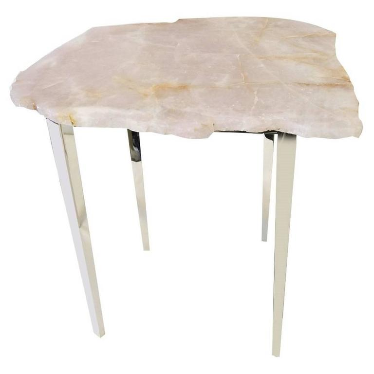 Small Pink Quartz Coffee Table For Sale