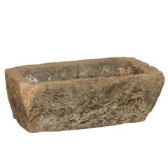Strong Rustic Stone Trough / Planter for Indoor / Outdoor Use of Medium Size