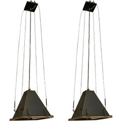 Pair of Iron Pyramid Lights, Brass Trim, Italy, Mid Century