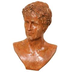 Marbleized Resin Bust of an Unknown Roman Emperor Wearing a Wreath Headband