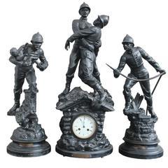 Antique French Spelter Firemen Clock Set