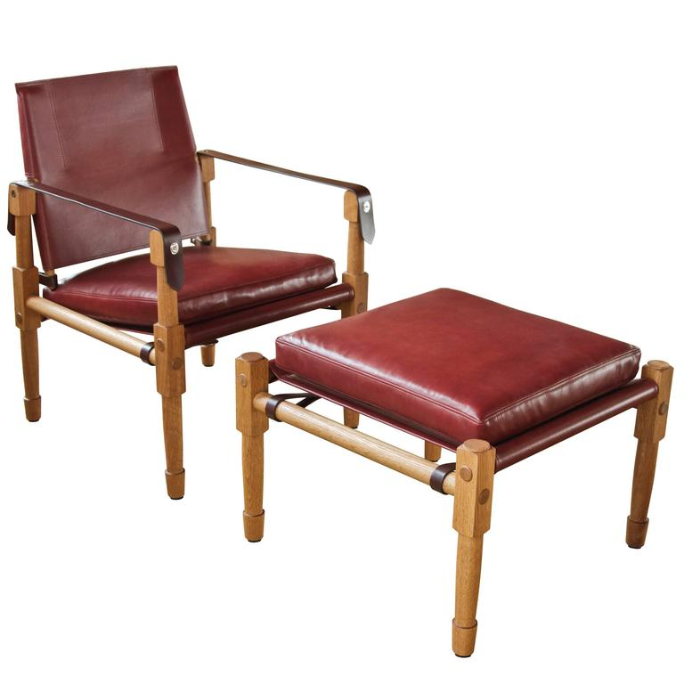 Chatwin Lounge Chair and Ottoman in Oiled White Oak and Leather Upholstery For Sale