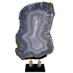 Grey Agate Slice Sculpture