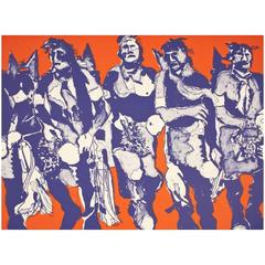 Hopi Dancers Lithograph, State 1, by Fritz Scholder Lithograph