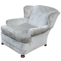Deep Wingback Bun Foot Lounge Chair in Soft Grey Velvet