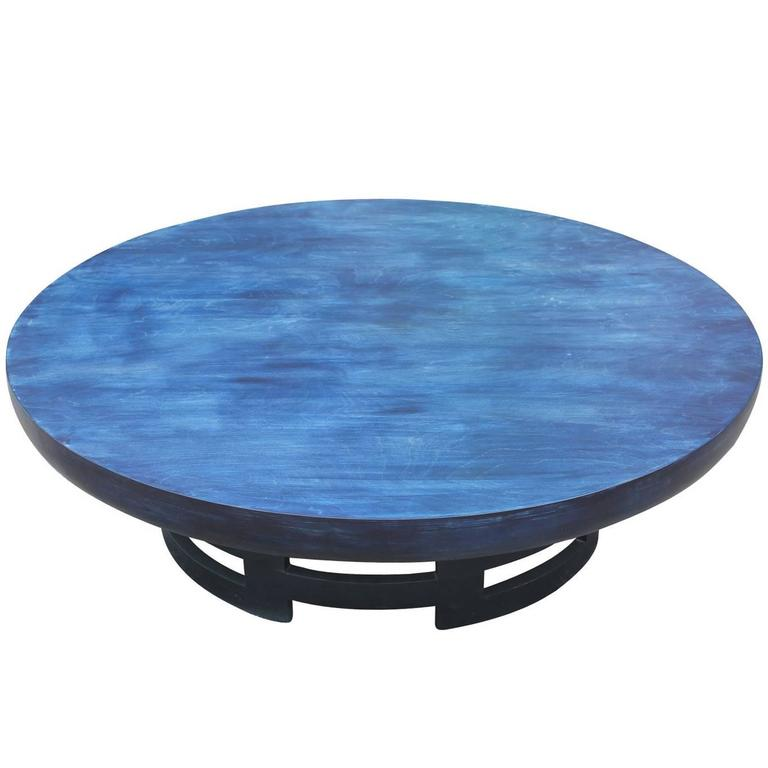 Kittinger Modern Blue Aniline Dyed Asian Inspired Round Coffee Cocktail Table For Sale