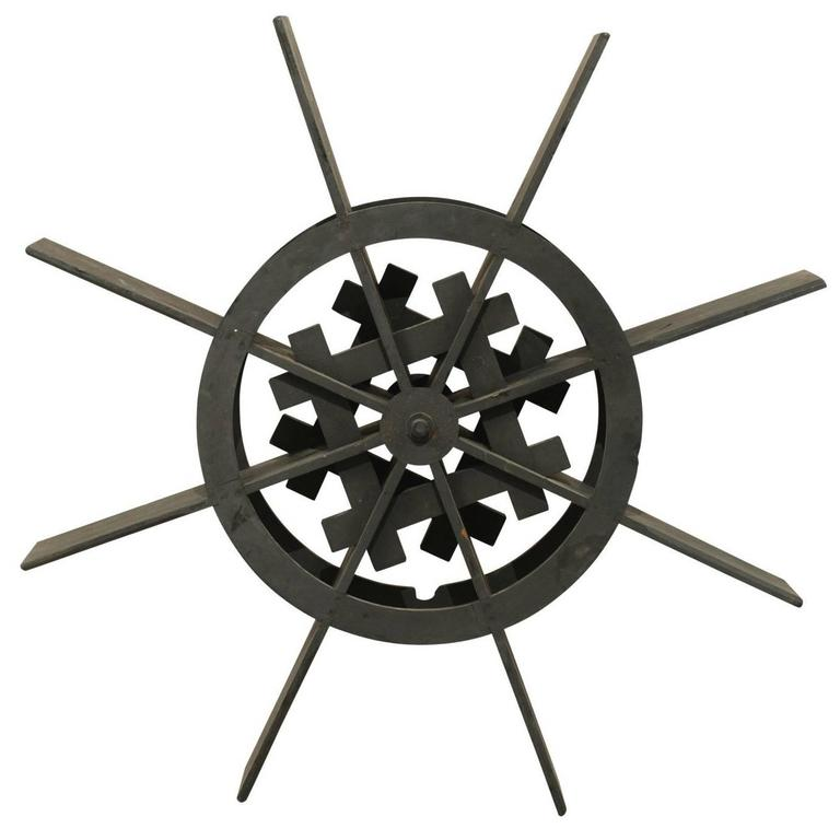 Large Water Wheel Decoration of Ebonized Jackwood from Kerala, India