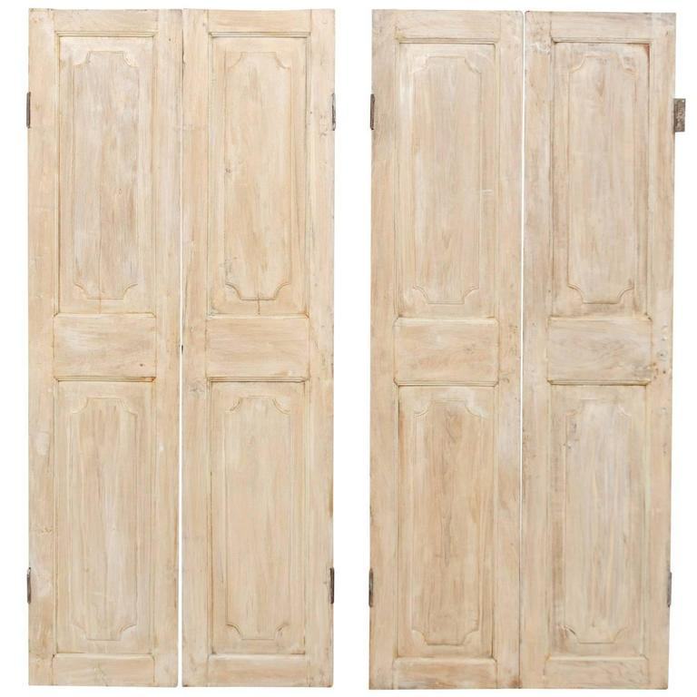 Two Pairs of Lovely French 19th Century Doors in Antiqued Beige and White Hues