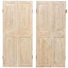One Pair of Lovely French 19th Century Doors in Antiqued Beige and White Hues