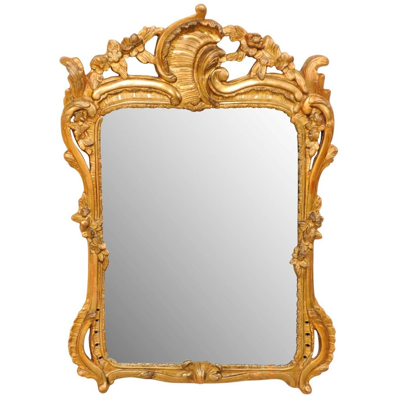 19th Century Italian Gold Painted Mirror with Gilding in Ornate Rococo Style
