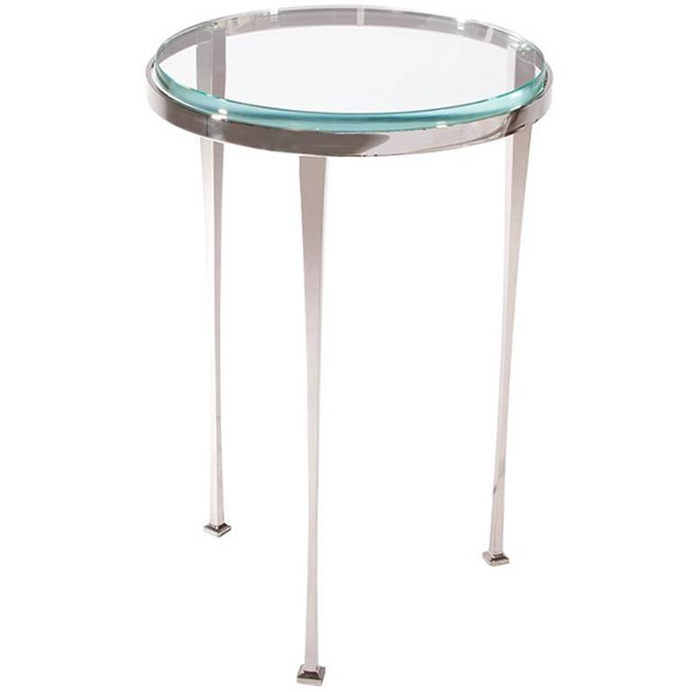 Ainslie Side Table, Nickle-Plated Steel with Star-Fire Edged Glass