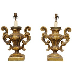 Pair of Italian Rococo Style Gilded Table Lamps with Classic Urn Shape & Foliage