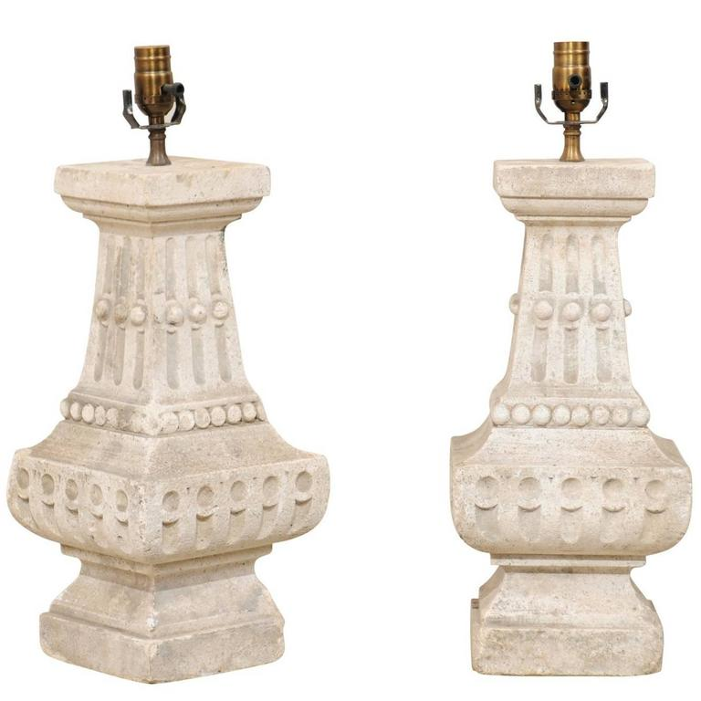 Pair of French Cast Stone Table Lamps with Fluting and Overall Baluster Shape