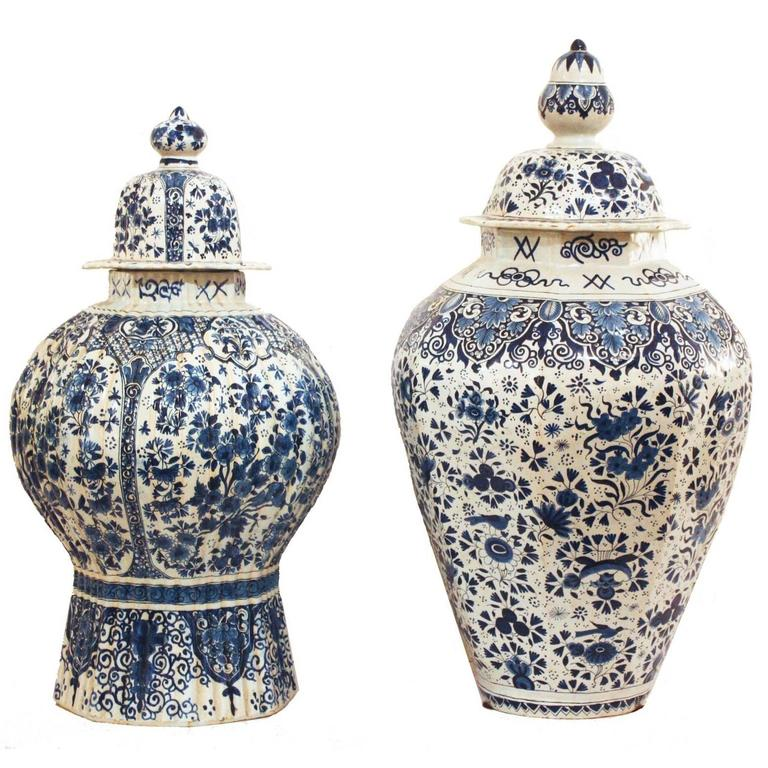 18th Century Delft Ginger Jar / Vase