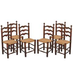 Set of Six Walnut Chairs, Restored Straw Sitting for Tavern or Kitchen