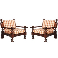 Mid-Century Characteristics Italian Tavern Country Armchairs in Solid Durmast