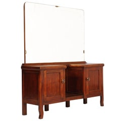 1930s Art Deco Entry Cabinet Console Table with Mirror in Walnut