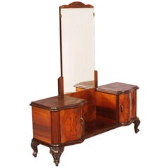 1940s, Italy, Chippendale Walnut Mirrored Dressing Table and Burl Walnut Applied