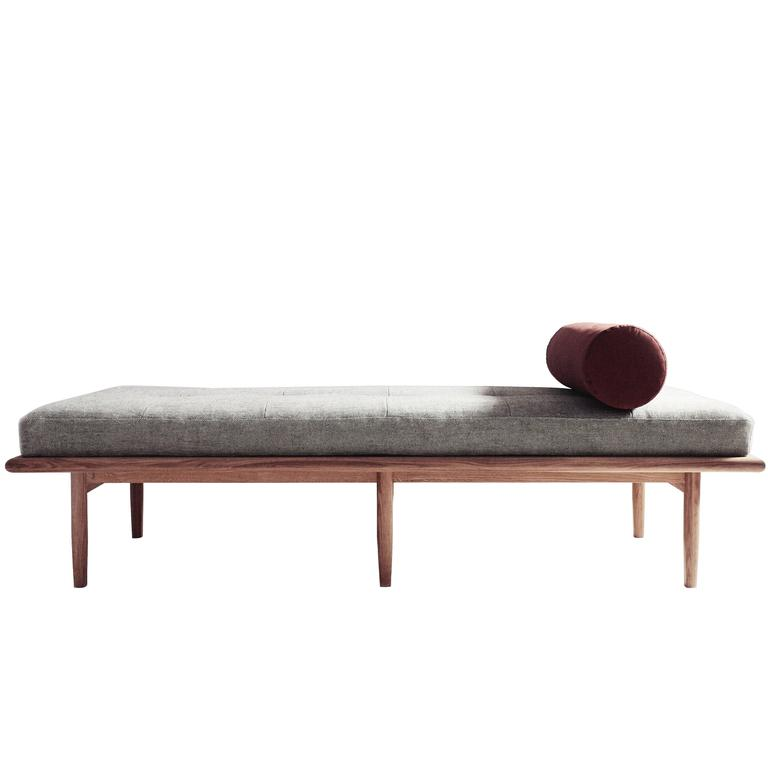 Sylva Daybed in Woven-Linen and Rust Moleskin and White Oak