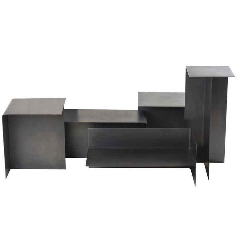 Modular T Tables for Cocktail and Coffee Table, Made of Darkened Stainless Steel