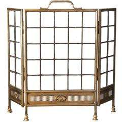 20th Century Edwardian Brass and Panelled Glass Fire Screen