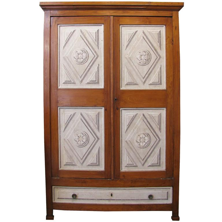 Mid-19th Century Tuscan Two-Door and One Drawer Painted Walnut Cupboard