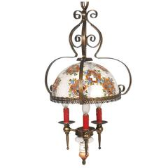 20th Mid-Century Bassano Chandelier Hand-Painted Ceramic & Burnished Brass 1950s