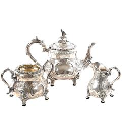 Victorian English Sterling Silver Three-Piece Tea Service