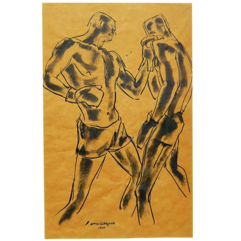 """""""Left Jab,"""" Rare, Vivid Drawing of Two Boxers by Littlefield, 1928 For Sale"""