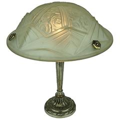 Art Deco Table Lamp with Stylized Flowers and Geometric Motifs Design