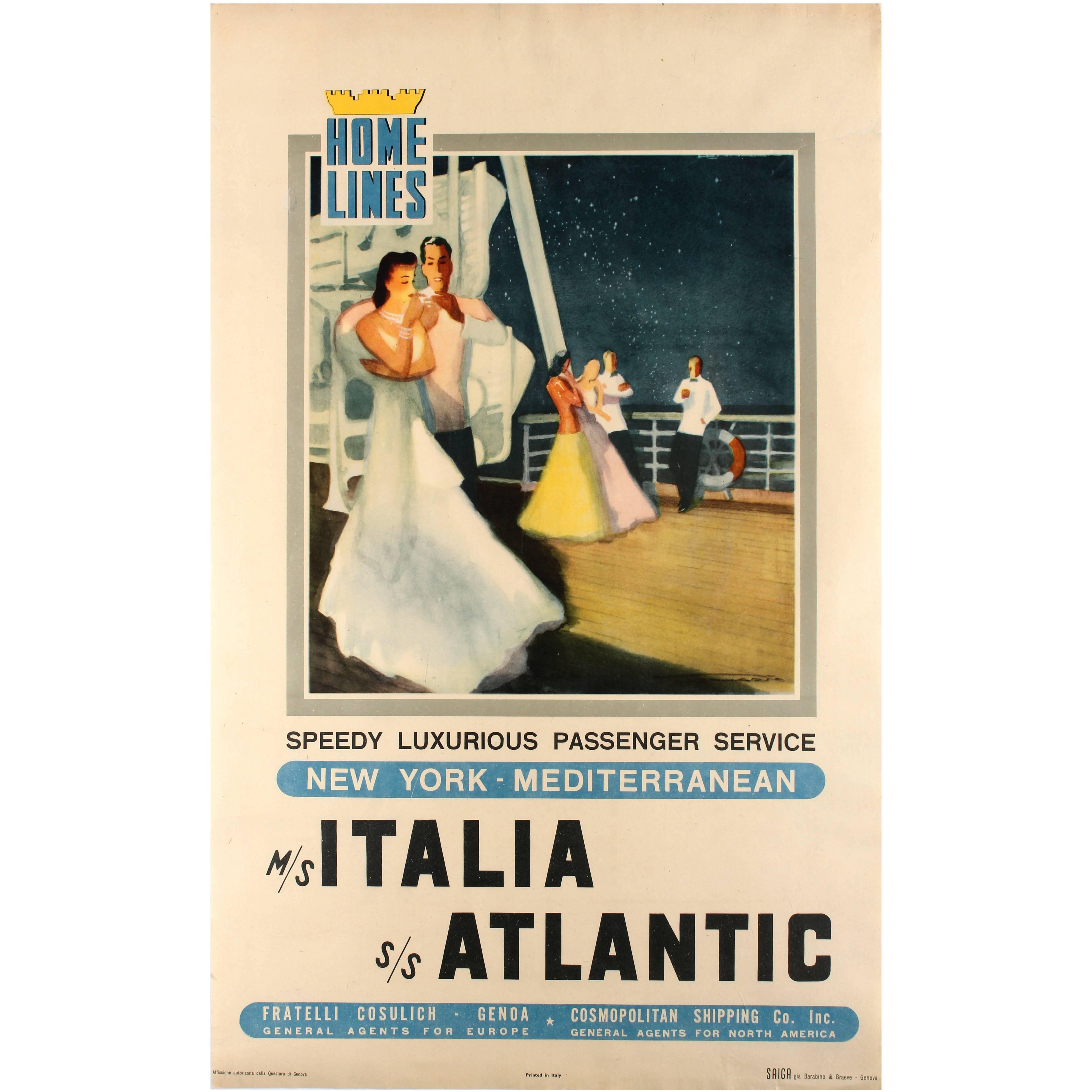 Original Vintage Home Lines Cruise Ship Service Poster New York