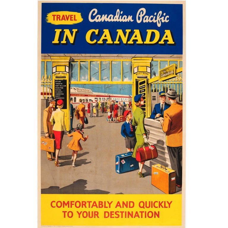 Original Vintage Travel Advertising Poster - Travel Canadian Pacific In Canada For Sale