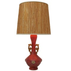 Zaccagnini Asiatic Lamp with Original Grass Shade, Italy, circa 1940