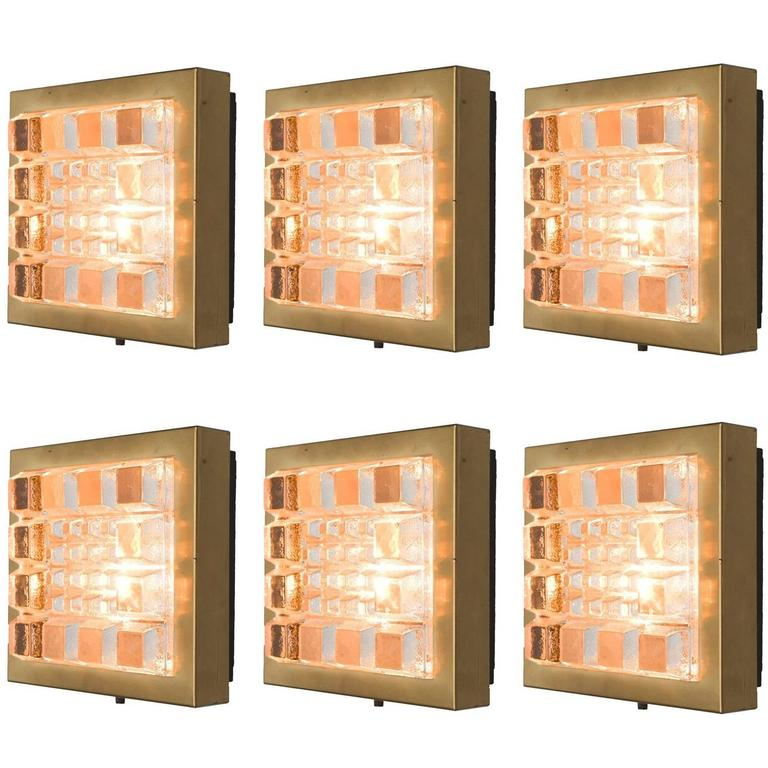 Set of Six Geometric Wall Lights in Brass and Glass