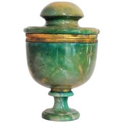 Art Deco Green Onyx and Brass Urn Lidded Pot Container