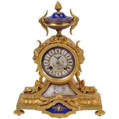 Japy Freres Ormolu and Sevres Porcelain Boudoir Clock, circa 1870 Fully Working
