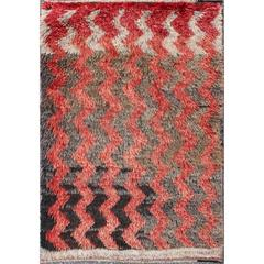 Turkish Tulu Carpet with Zig-Zag Stripe Pattern in Ivory, Gray, Charcoal and Red