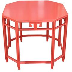 Modern Asian Orange Coral Lacquered Side or End Table by Baker