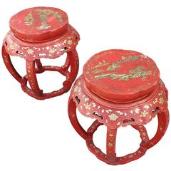Pair of Red Orange Asian Chinoiserie Side Tables/Stools