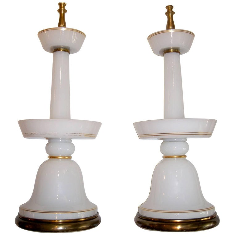 Pair of Large Opaline Glass Lamps
