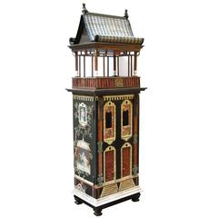 Masterfully Crafted Wooden Hand-Painted Dollhouse/Cabinet Eric & Carole Lansdown