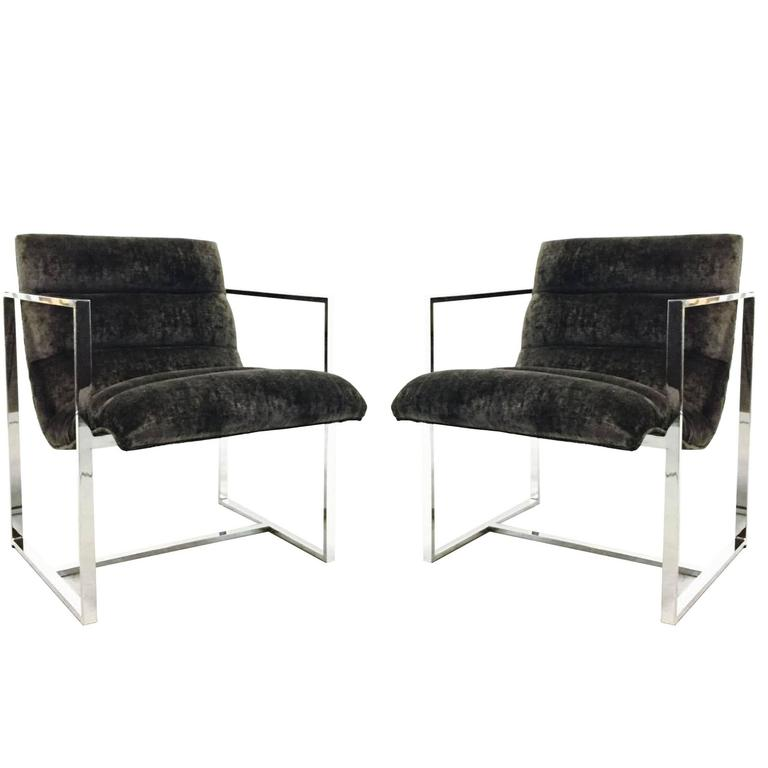 Pair of Milo Baughman Chrome Cube Scoop Chairs