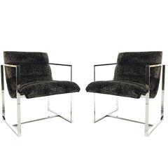 Pair of Milo Baughman Chrome Cube Scoop Chairs