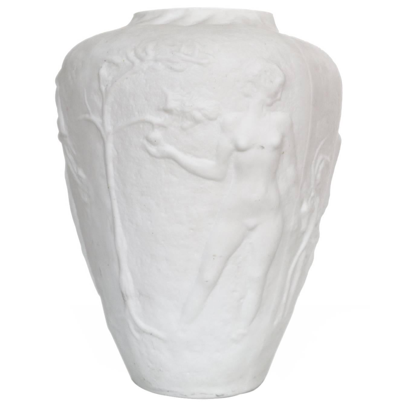 Art Deco Relief Glass Vase with Four Nude Female Figures