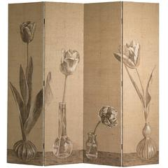 One of a Kind Hand-Painted 'Tulips' Screen by Ashley Hicks