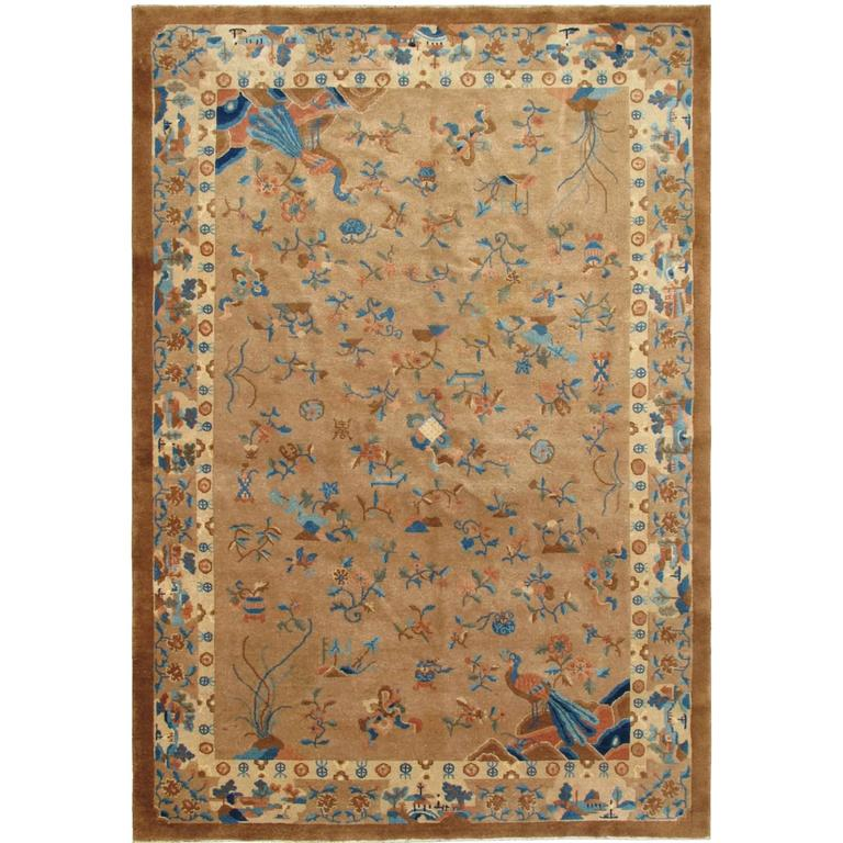Antique Chinese Peking Carpet With Floral And Bird Design