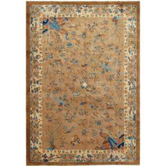Antique Chinese Peking Carpet with Floral and Bird Design in Camel and Blue
