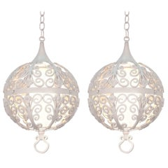 White Round Ornate Chandelier Pendant