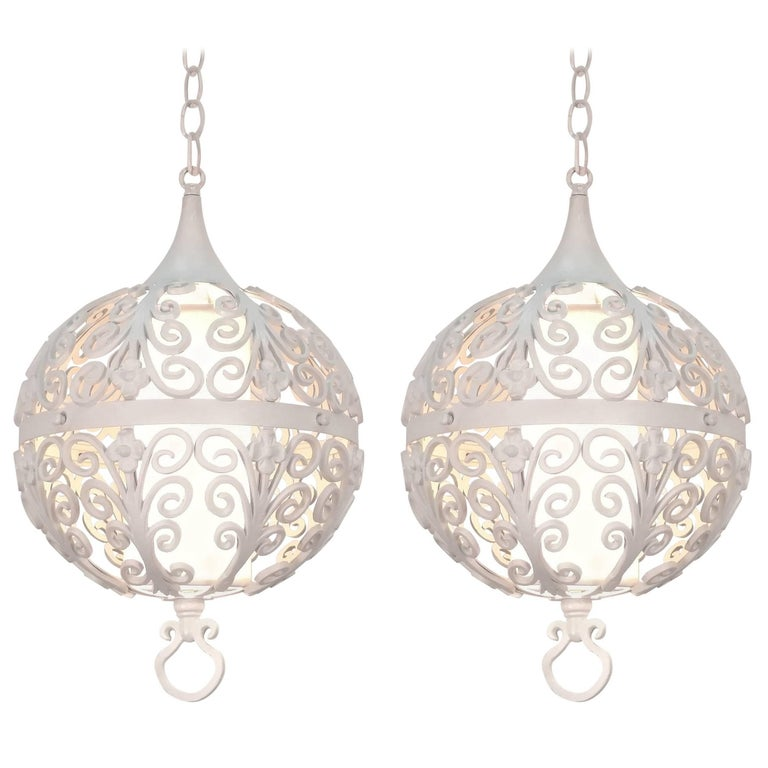 White Round Ornate Chandelier Pendant For Sale